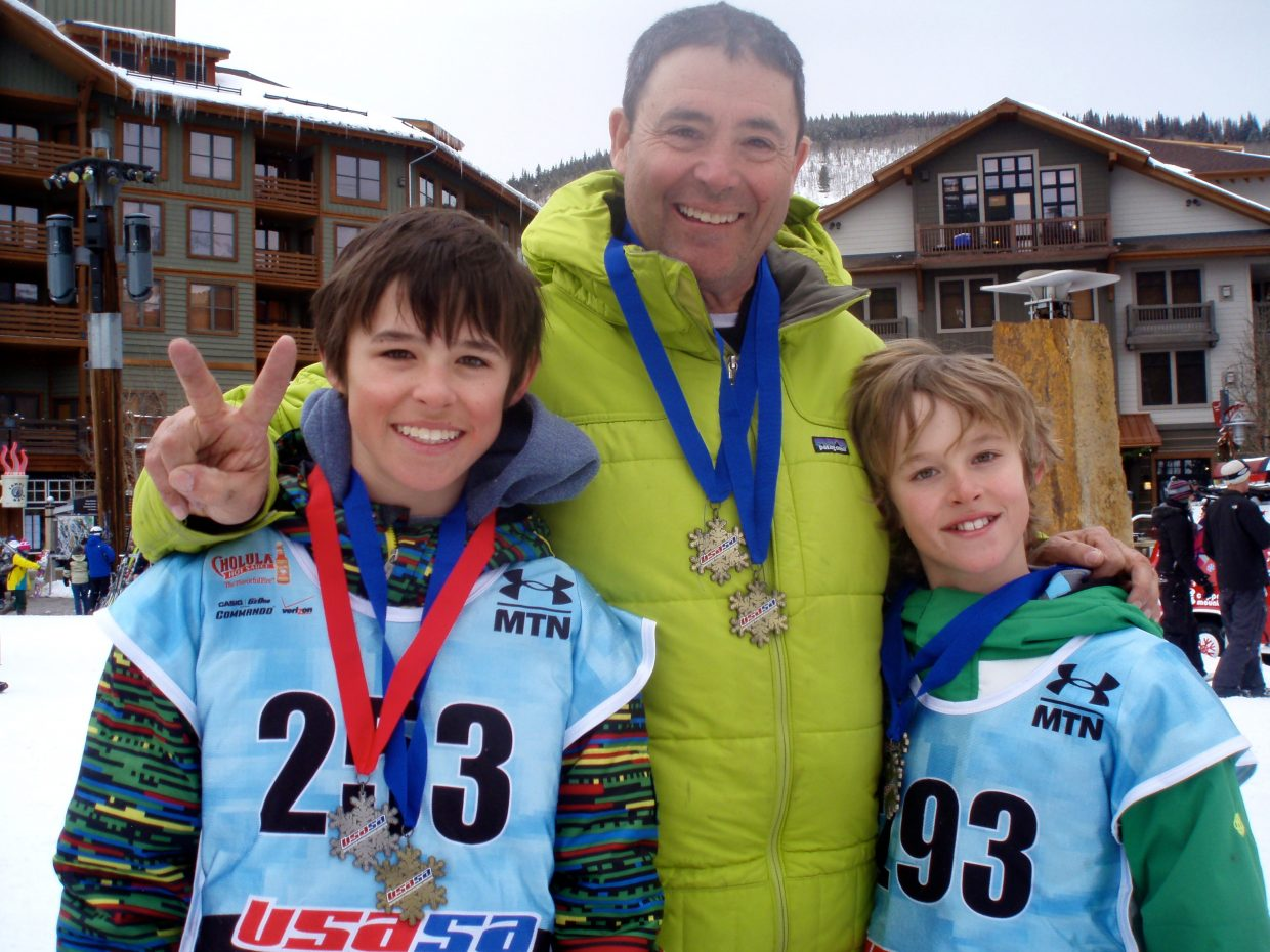 All three Winters boys got on the podium in USASA's slalom and giant slalom events at Copper Mountain this weekend. Billy Winters, left, placed first in giant slalom and second in slalom. Cody Winters, right, got a first-place in giant slalom and a first in slalom. And their father Dave Winters got a 1st in the giant slalom event and a first in slalom.