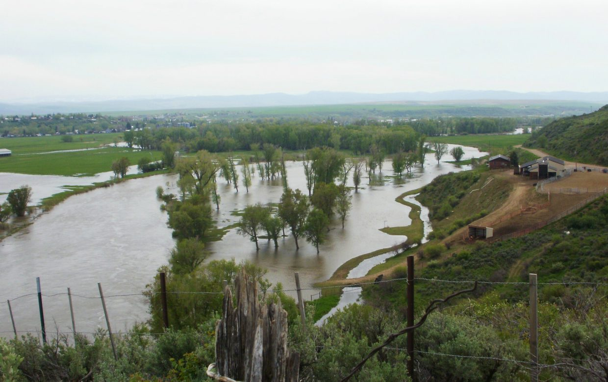 The Yampa River was flooding in Hayden on Wednesday.