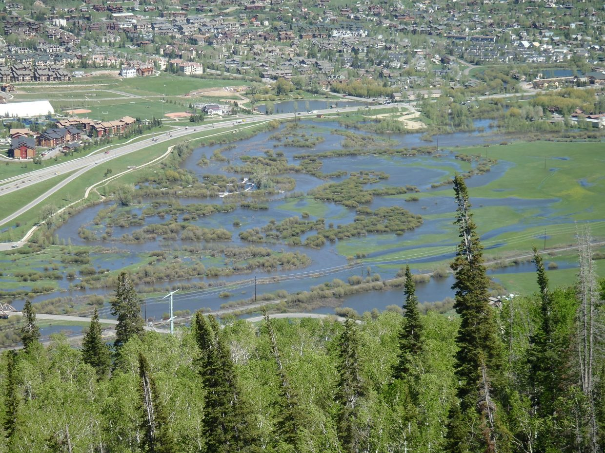 The Yampa River is out of its banks.