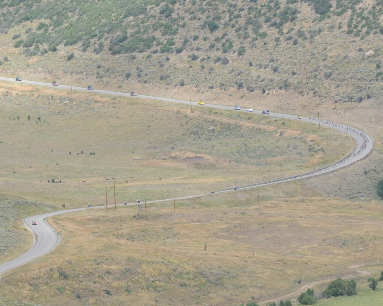 Peloton approaching the second sister on Routt County Road 27. Submitted by: Lee McShane Cox