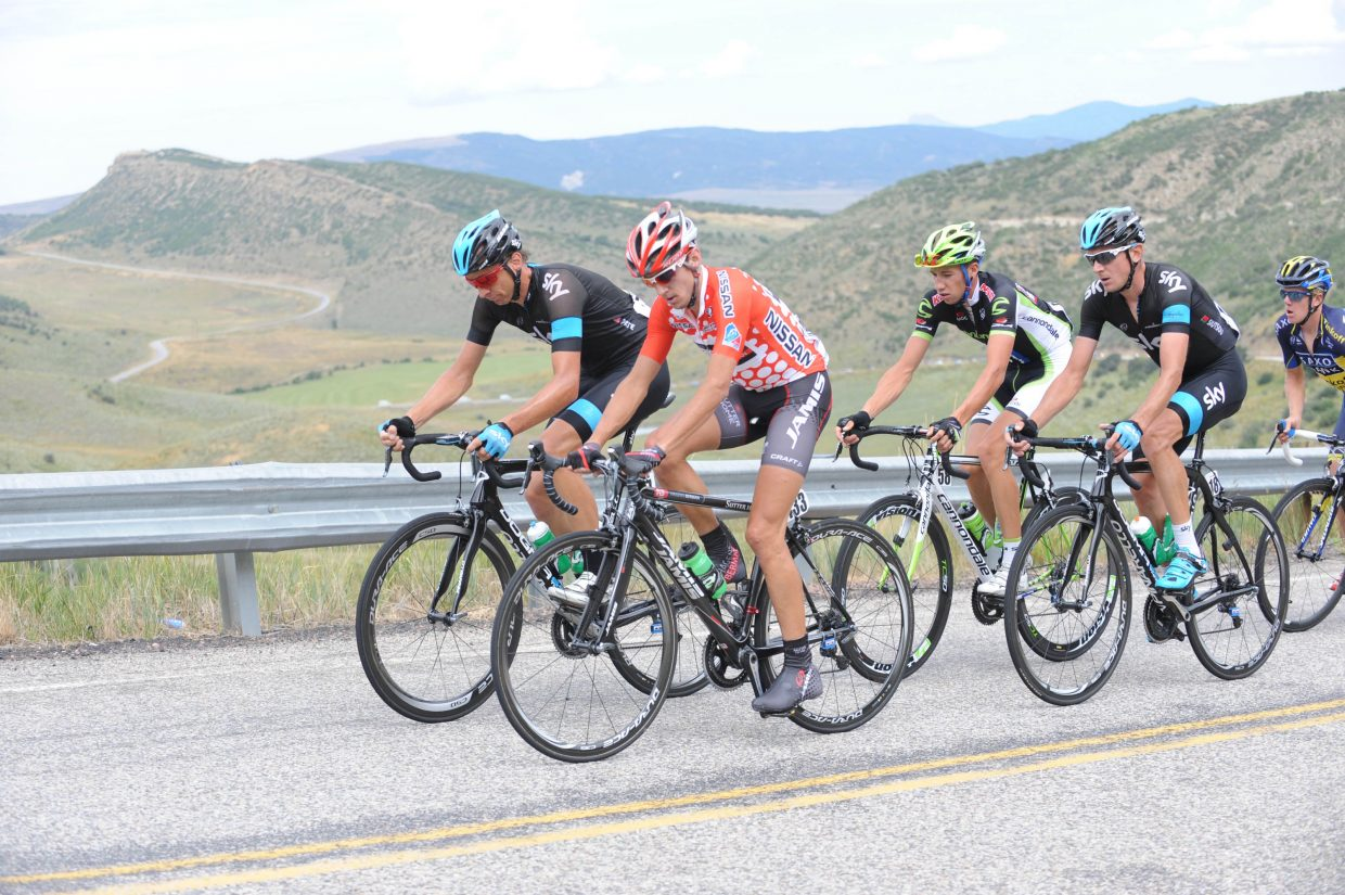 Matt Cook in King of the Mountain jersey leading the breakaway group on the second sister. Submitted by: Lee McShane Cox