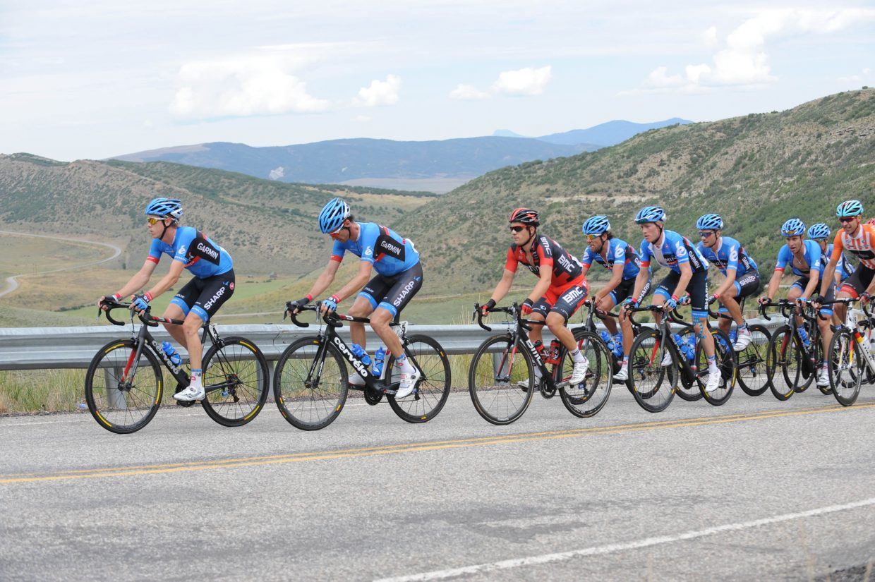 Team Garmin-Sharp leading the peloton up the second sister. Submitted by: Lee McShane Cox