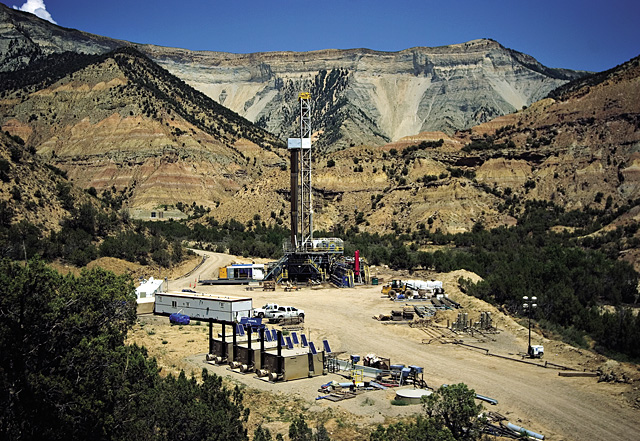 A large drilling rig sits on Bureau of Land Management land outside Parachute on July 13. The wells created by the rig will produce economically viable natural gas for Williams.