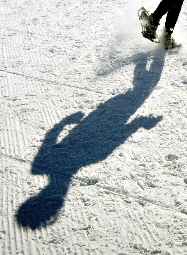 A lone snowshoer navigates the groomed course at Howelsen Hill on Saturday morning during the Steamboat Pentathlon.