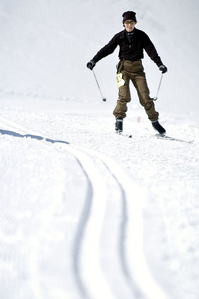 Tina Kyprios skates through the flat portion of the cross-country skiing leg of the Steamboat Pentathlon at Howelsen Hill on Saturday morning.