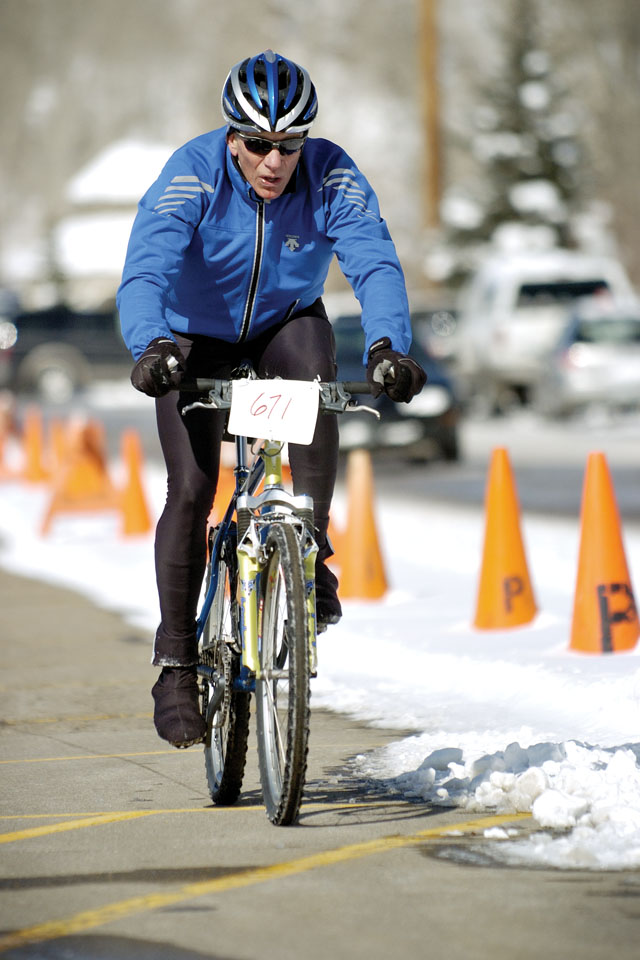 Steve Fleckenstein rolls along River Road during the second-to-last stage of the Steamboat Pentathlon on Saturday morning at Howelsen Hill. Fleckenstein was competing in the individual men's short course race.