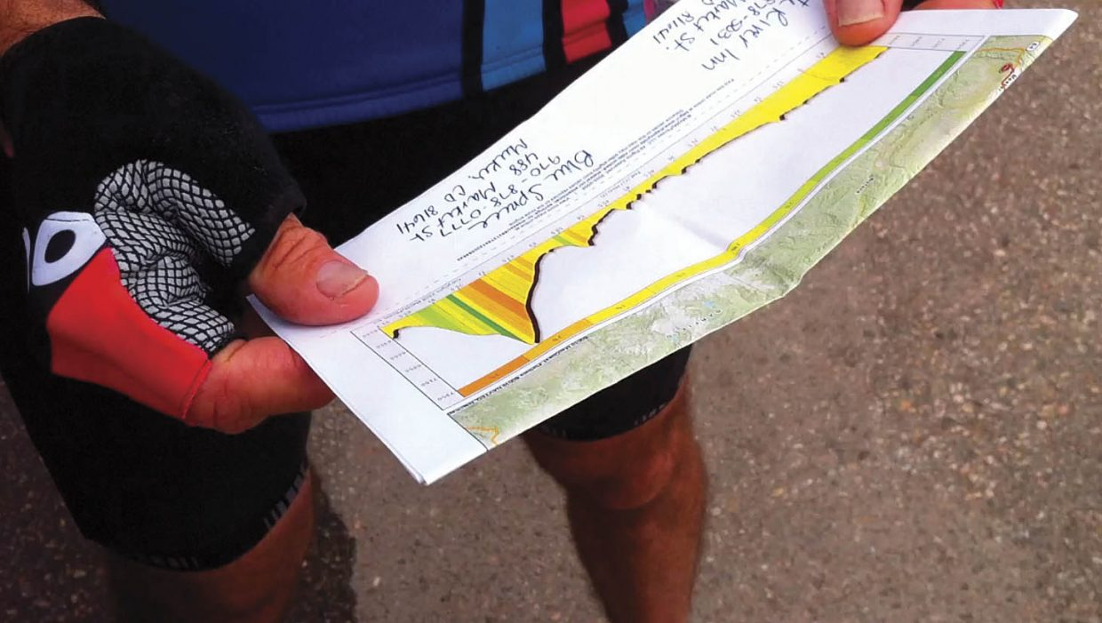 A rider looks at a graph showing the elevation changes during the first day of riding.
