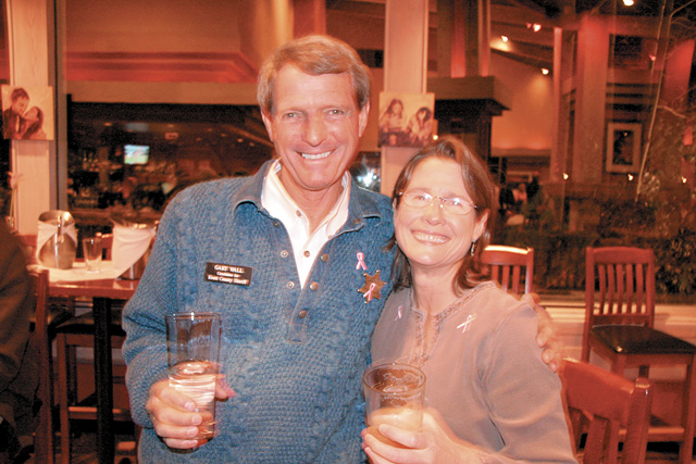 Sheriff-elect Gary Wall and Margery Callahan take a break from socializing at the fifth annual Bust of Steamboat.