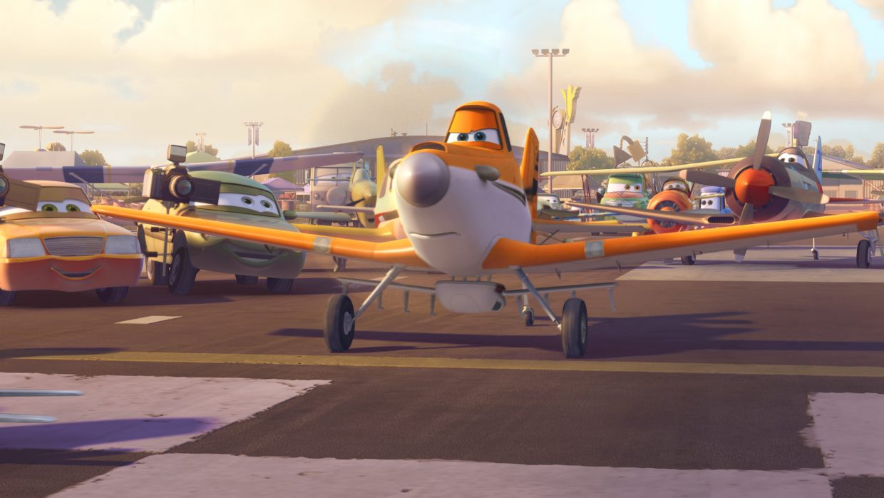 """Dusty Crophopper (voice of Dane Cook) prepares for takeoff in """"Planes."""" The movie is a spinoff of Pixar's """"Cars,"""" featuring airplanes competing in a race around the world."""