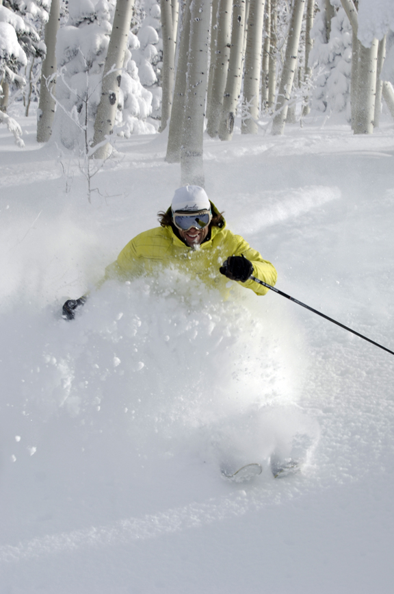 Former U.S. Olympian Nelson Carmichael enjoys the fresh snow Friday. The resort will open top-to-bottom terrain Saturday, including nearly 800 acres, 55 trails and five lifts.