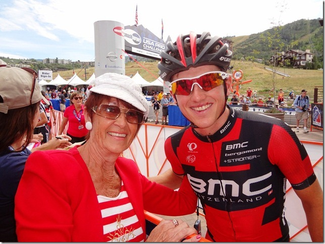 Trudy Wells Meyer with cyclist Mathias Frank. Submitted by: Trudy Wells Meyer