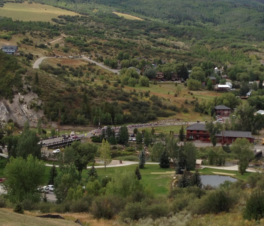 Stage 4 of the USA Pro Challenge viewed from the Colorado Mountain College Alpine Campus. Submitted by Denise Roach