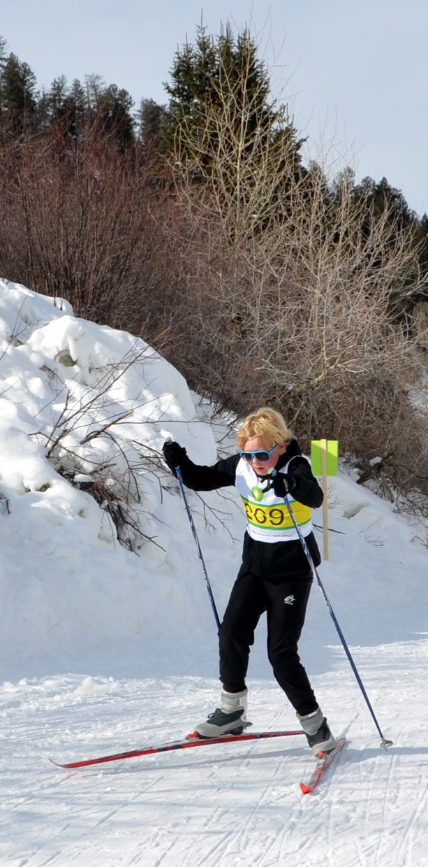 Quinn Luthy, of Durango, skates up the hill in the Nordic competition at Howelsen Hill on Friday.