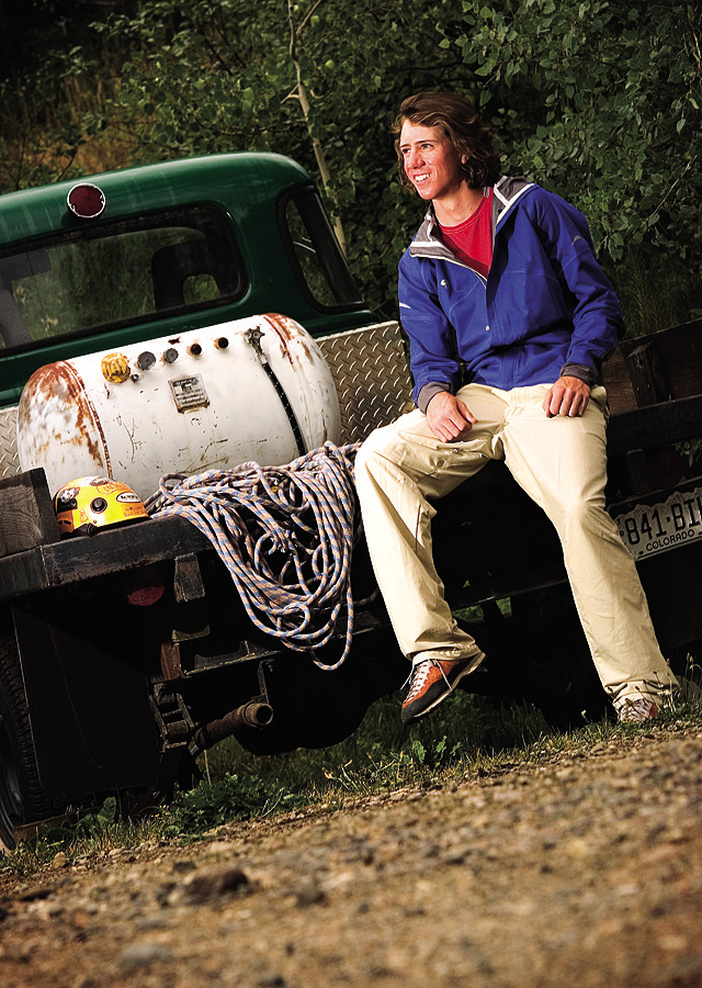 Bridger Root, shown here on a pickup truck near his family's home outside Steamboat Springs on Wednesday, is a recent graduate of the Lowell Whiteman School and an accomplished mountaineer at age 18.
