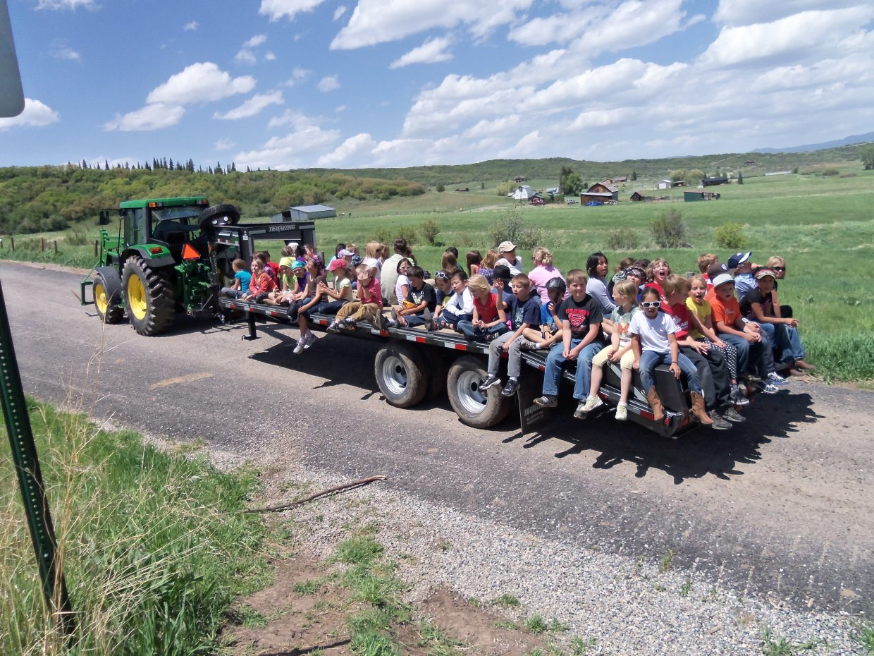 Steamboat Today reader Toria Kuntz submitted this photo of Soda Creek Elementary School third-graders on a field trip to Kuntz Ranch in Pleasant Valley.