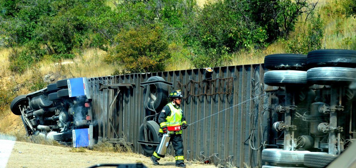 Traffic was halted for a bit after a semitrailer crashed onto its side on Rabbit Ears Pass on Sunday.