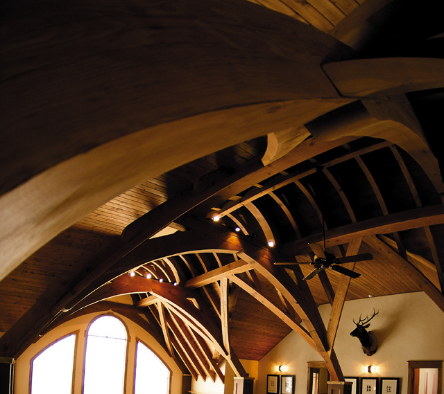 Towering trusses support a high-vaulted ceiling in this Tatanka Ridge home offered by Nick Metzler of Colorado Group Realty for a price of $3.85 million.