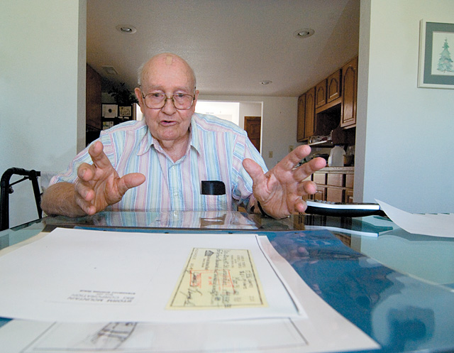 Jim Temple talks in 2007 about the early days of the Storm Mountain Ski Area at his home outside of Boulder. Temple still has many of the original plans and documents from the early days.