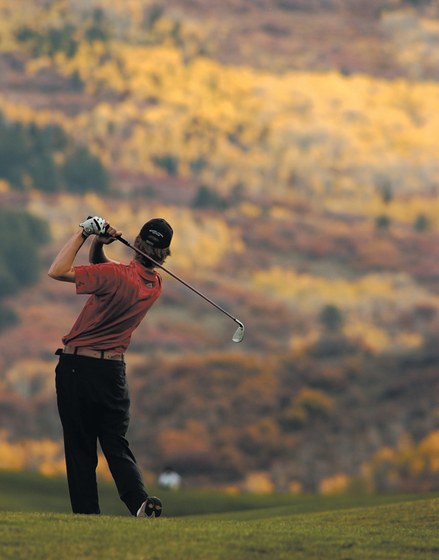 Steamboat Springs golfer Michael Weston fires a shot toward the green during the first day of the 4A state high school golf championships at Haymaker Golf Course.