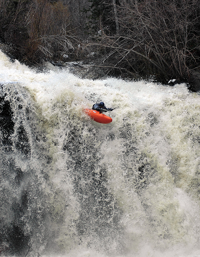 Steamboat kayaker Nick Hinds blasts over A.C. Slater Falls, in the northeast reaches of Routt County on Wednesday afternoon.
