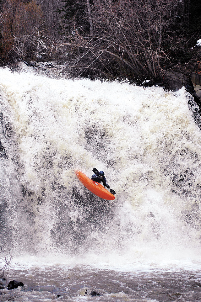 Steamboat kayaker Nick Hinds spots his landing over A.C. Slater Falls, in the northeast reaches of Routt County, on Wednesday afternoon.