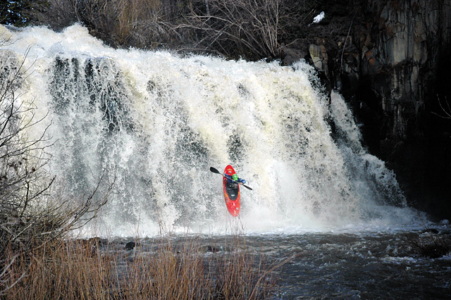 Joe Carberry sticks his landing after dropping the left side of A.C. Slater Falls on Wednesday.