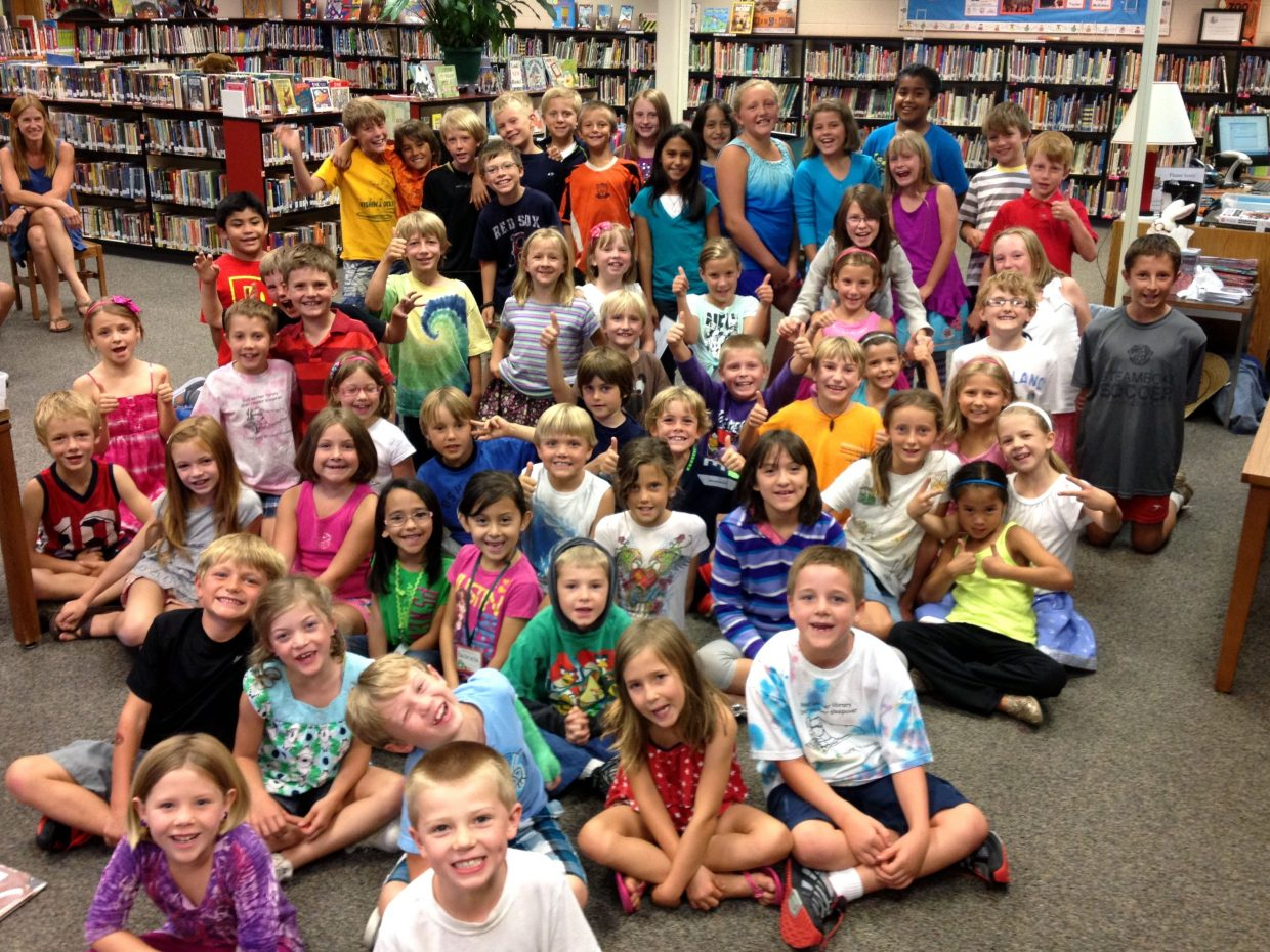 Strawberry Park Elementary School Radical Readers: Sixty students at Strawberry Park Elementary School met the summer reading challenge to read 30-plus hours. They celebrated Friday with their principal, Mrs. Stoddard and a Skype chat with author and illustrator Steve Jenkins, who will be presenting at the 2013 Book Feast on Sept. 28 at Bud Werner Memorial Library. Submitted by: Sherry Holland
