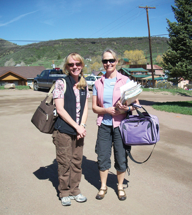 South Routt Medical Center nurse practicioner Linda Casner, right, prepares to go on the center's first house call May 16 with medical assistant Tina Holliday.