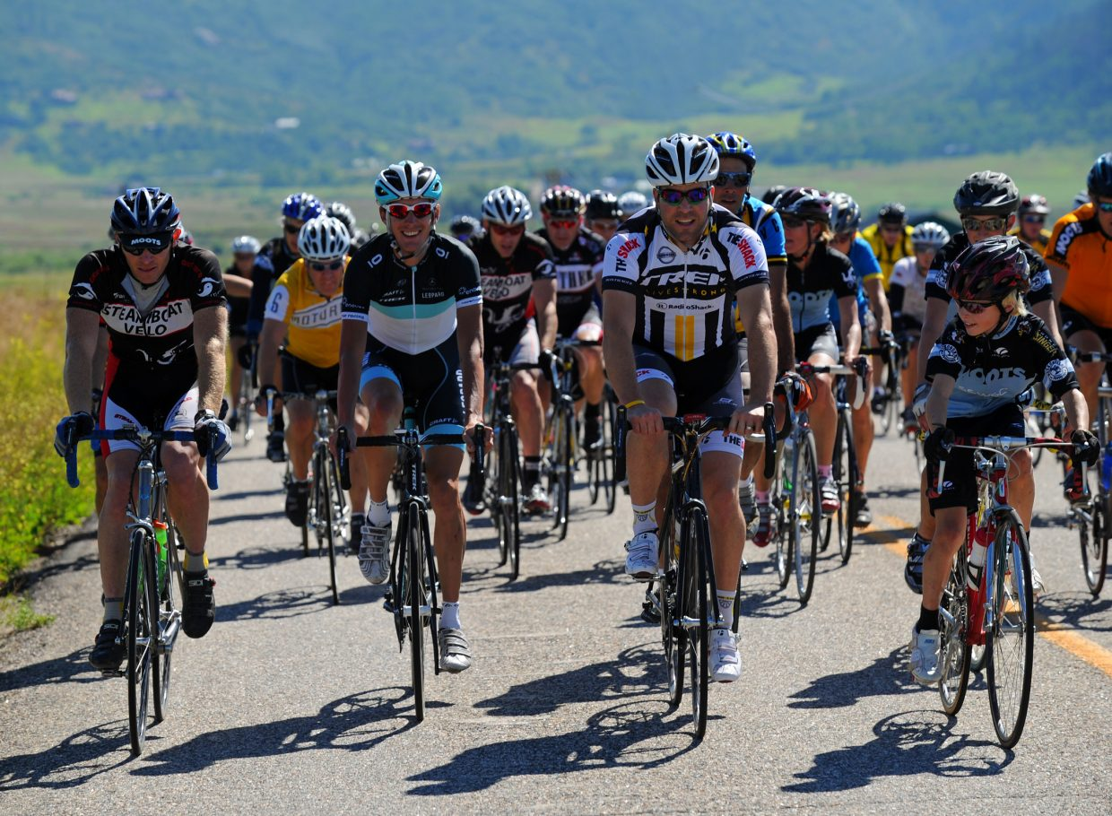 About 150 cyclists attended a community ride with Andy Schleck on Monday. Schleck finished in second place at this year's Tour de France.
