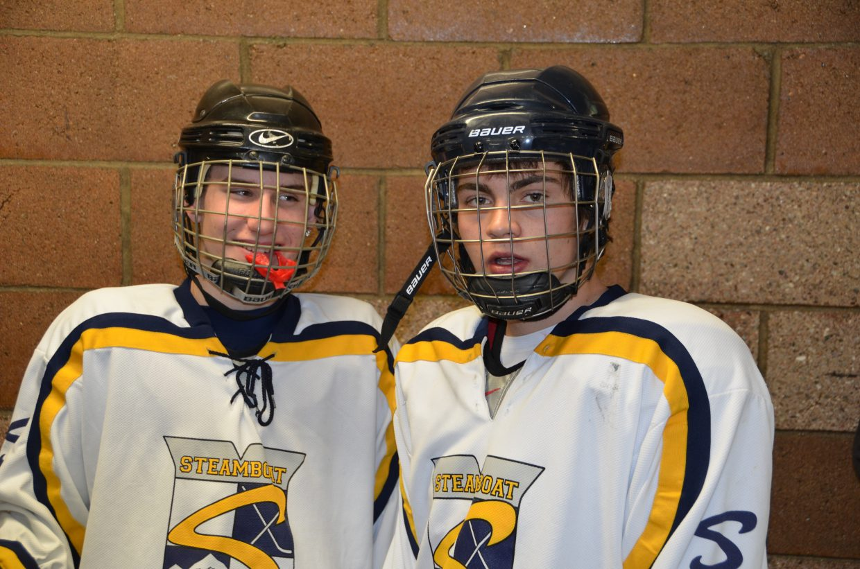 Caleb VanArsdale and Hunter Burton prepare for their SSYHA Midget game at Howelsen Ice Arena. Submitted by: Shannon Lukens