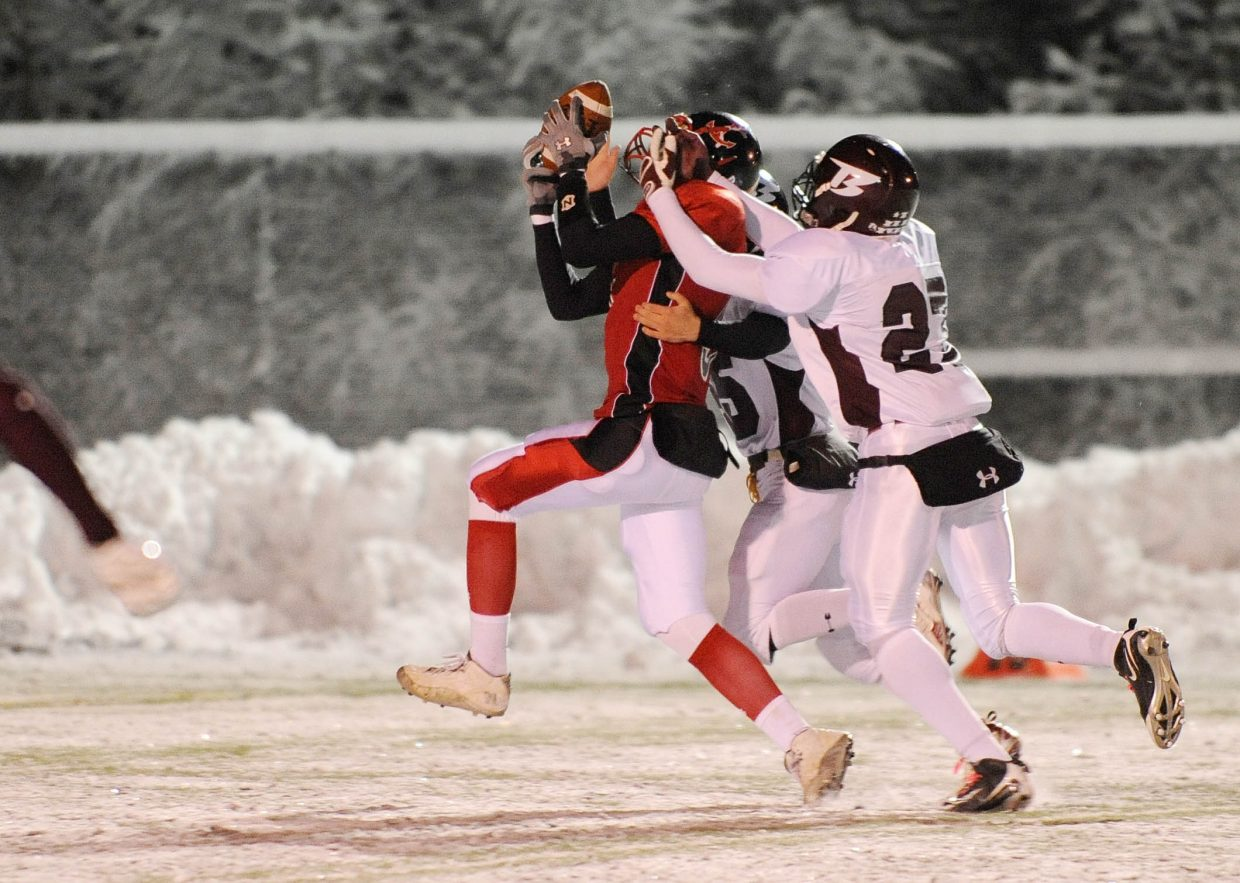 Steamboat Springs High School senior Jack Spady pulls in a long pass that was later taken back because of a penalty.
