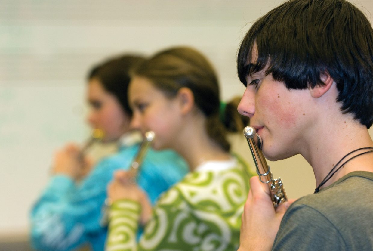 Garrison Osteen, Claire Cox and Chloe Banning form the flute section for the Steamboat Springs Youth Orchestra.