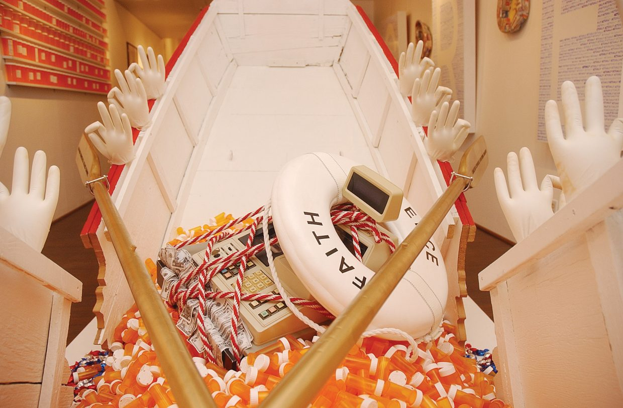 A sinking ship holds an overflowing cash register and prescription pill bottles.
