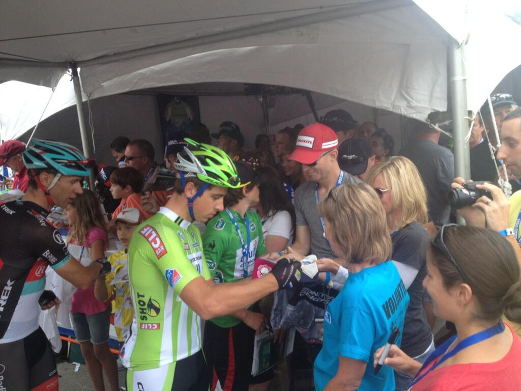 Peter Sagan, current green jersey here and at Tour de France, greeting fans in Breckenridge.