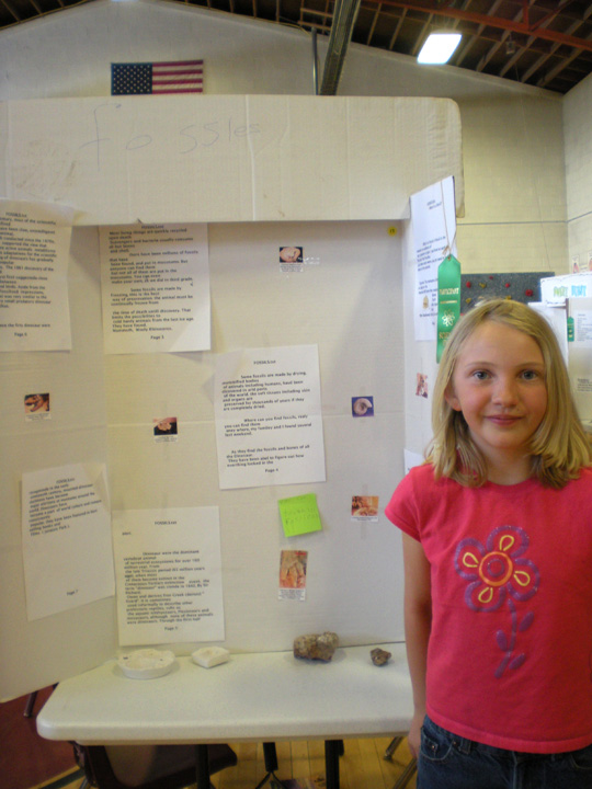Fourth-grader Jade Citron focused her science fair project on fossils.