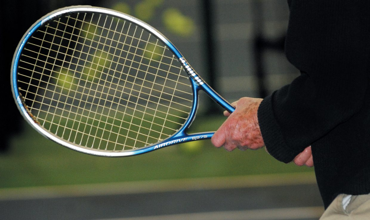 Alfred Kahn, 92, gets ready for the serve during a match at the Tennis Center at Steamboat Springs.