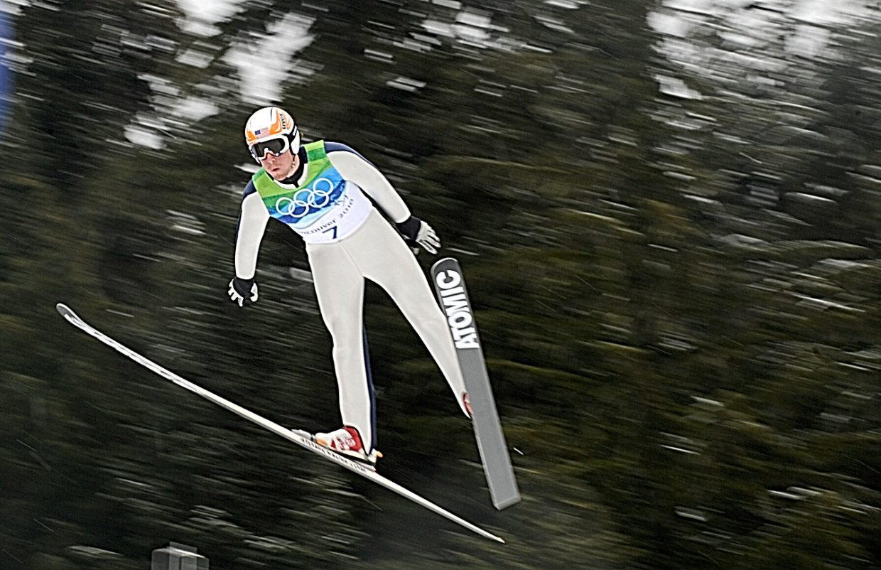 Steamboat Springs Taylor Fletcher jumps in Thursday's large hill individual Gundersen event.