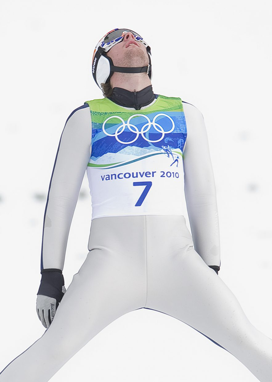 Steamboat Springs' Taylor Fletcher shows his disappointment after jumping at Whistler Olympic Park in Thursday's event.