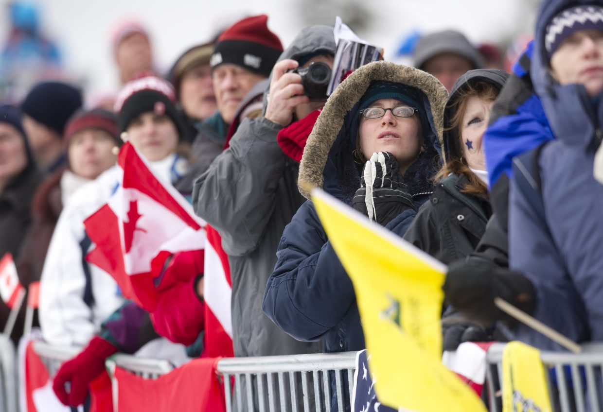 Nordic combined fans look up the hill during Thursday's event at Whistler Olympic Park.