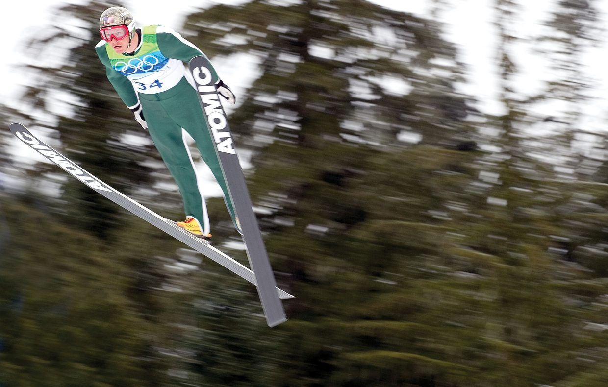 Steamboat Springs Todd Lodwick takes flight on the big hill at Whistler Olympic Park on Thursday. The Nordic combined jumpers were greeted with tough wind conditions, as well as rain and wet snow.