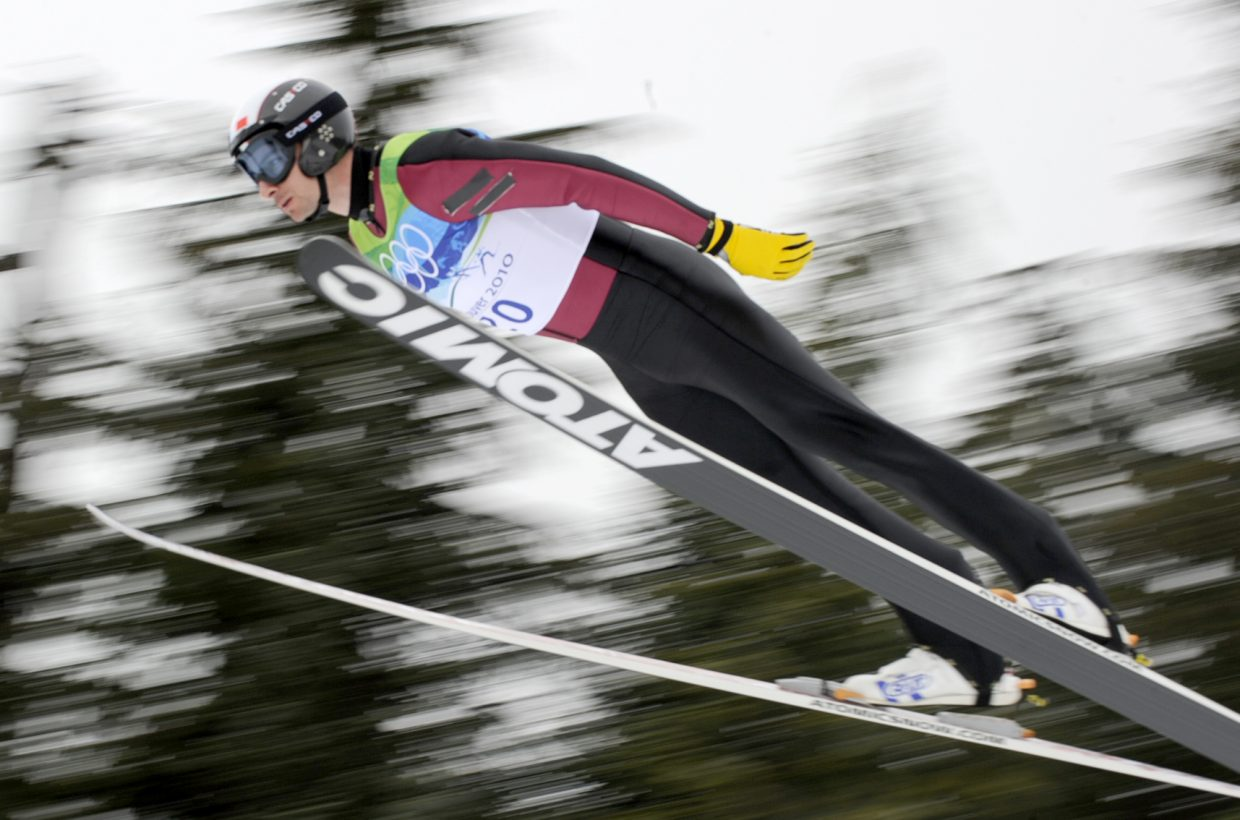 French Nordic combined skier Sebastien LaCroix jumps on the large hill at Whistler Olympic Park during Thursday's Nordic combined competition.