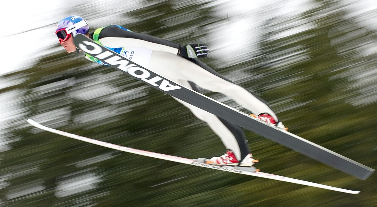 Billy Demong takes flight on the large hill at Whistler Olympic Park during Thursday's Nordic combined race. Demong finished sixth in the jumping and then raced to gold in the 10-kilometer cross-county race.