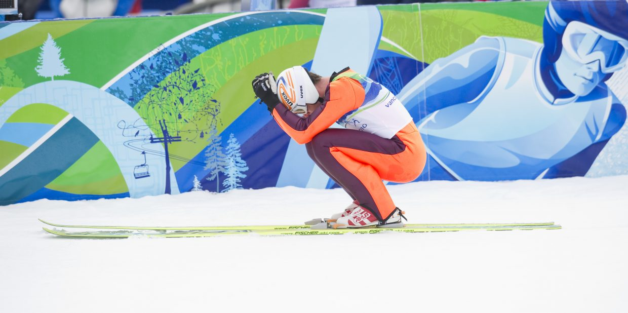 Canadian Jason Myslicki shows his disappointment after the jumping round of Thursday's Nordic combined competition.The Canadian finished 44th in the final results.