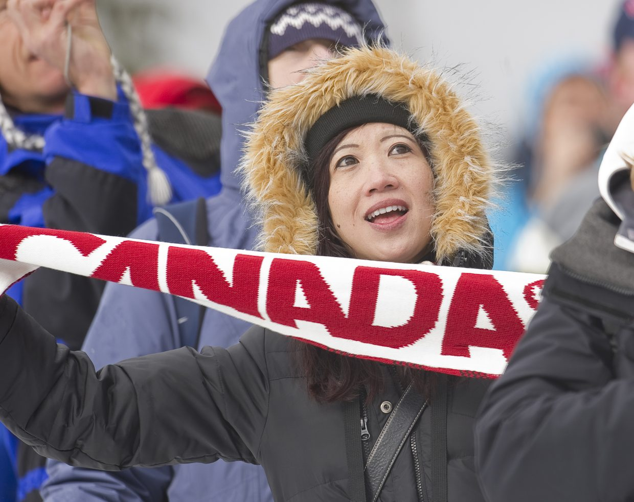 A Canadian Nordic combined fan cheers for Jason Myslicki in Thursday's large hill event.
