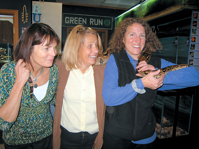 Janet Borden, left, Lowell Whiteman Head of School Nancy Spillane and Tracy Parchetta helped chaperone the field trip.