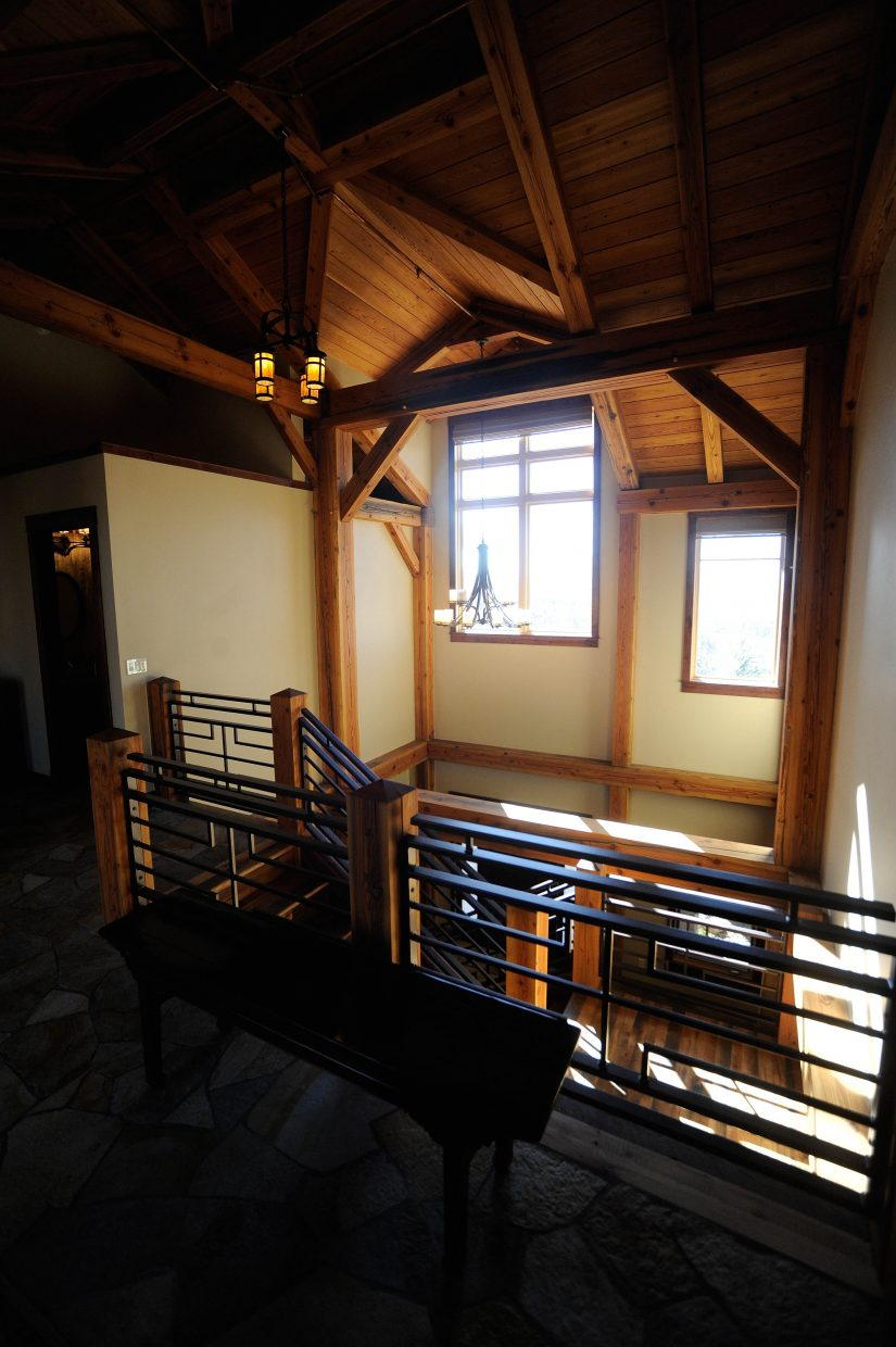 Light shines through the windows above the entryway.