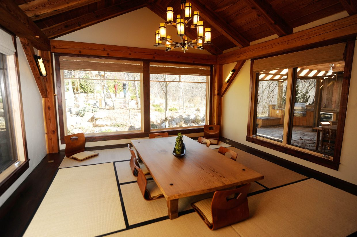 The main house has two dining areas. This one faces west.