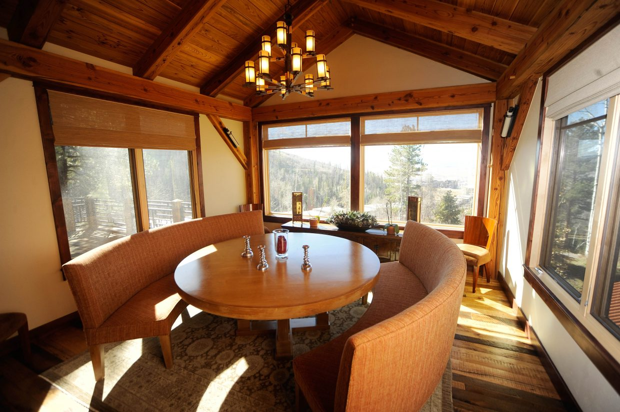 This dining area has views of Mount Werner, as well as the south valley.