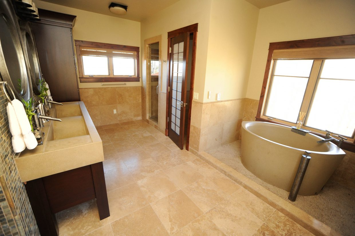 One of two master bathrooms in the home.