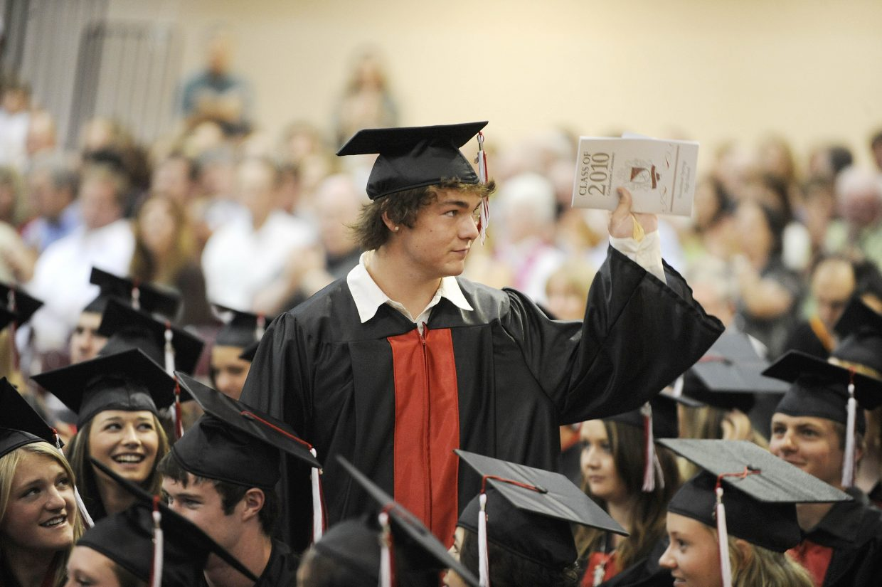 Bryce Mayo is acknowledged for joining the U.S. Navy during Saturday's Steamboat Springs High School graduation ceremony.